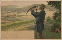 Man with Scythe Standing Near Scenic View of Hills