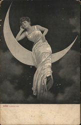 Lady On The Moon Postcard