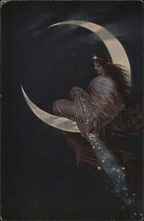 Woman with Long Dark Hair Seated in Crescent Moon