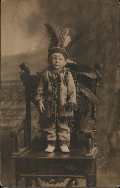 Boy Dressed up as Native American Native Americana