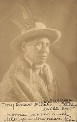 Native American Man in Traditional Dress Postcard