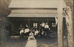 A Group of Vacationers, Pleasant Lake Cottage Postcard