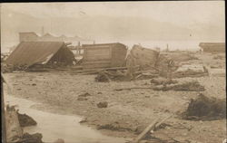 Destroyed wooden buildings - Valdez? Postcard
