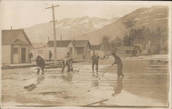 Men Clearing Flooded Street - Valdez? Postcard