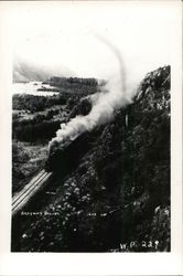 Train with Steam on Track in Mountainous Area, Aerial View