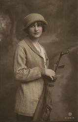 Gladys Kurton with Golf Clubs