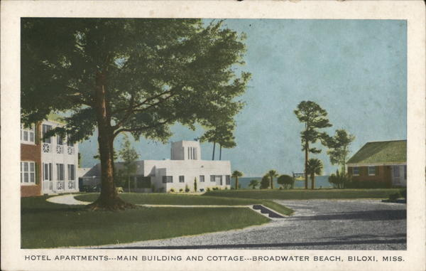 Broadwater Beach Hotel And Cottages Biloxi Ms Postcard