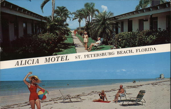 alicia motel saint petersburg beach fl postcard. Black Bedroom Furniture Sets. Home Design Ideas