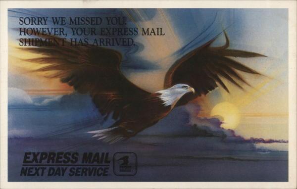express mail next day service postal postcard. Black Bedroom Furniture Sets. Home Design Ideas