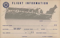 Northwest Airlines Flight Information Card