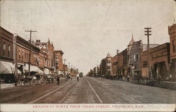Broadway North from Third Street Pittsburg Kansas