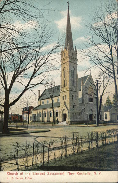 church of the blessed sacrament new rochelle ny postcard. Black Bedroom Furniture Sets. Home Design Ideas