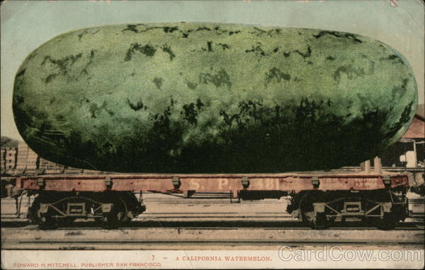 A California Watermelon on Railroad Car Fruit Exaggeration