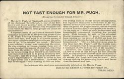 "Harris Automatic Press Company ""Not Fast Enough for Mr. Pugh"" Postcard"