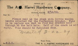 The A.J. Harwi Hardware Co. Correspondence Card