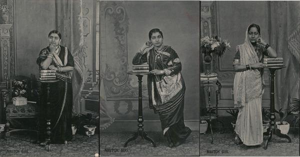 Set of 3: Nautch Girl Hindi Dancing Women India