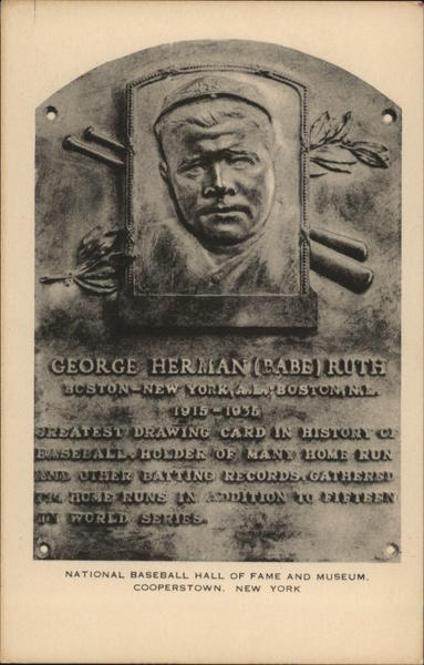 National Baseball Hall of Fameand Museum - Babe Ruth Plaque Cooperstown New York