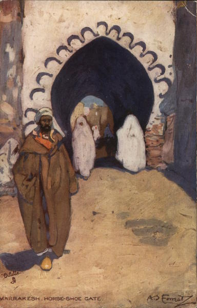 Man in Brown Robe Standing Near Archway - Horse-Shoe Gate Marrakesh Morocco