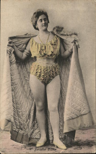 Scantily-Clad Woman Holding Cape Open Risque & Nude