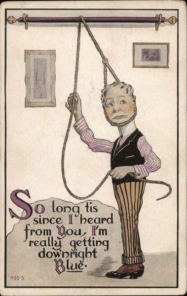 Illustration of Man Trying to Hang Himself Comic, Funny