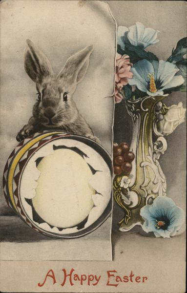 Bunny with Egg and Flowers - a Happy Easter With Bunnies