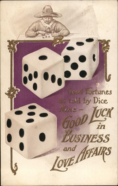 Three Giant Dice, Man at Table with Dice Casinos & Gambling