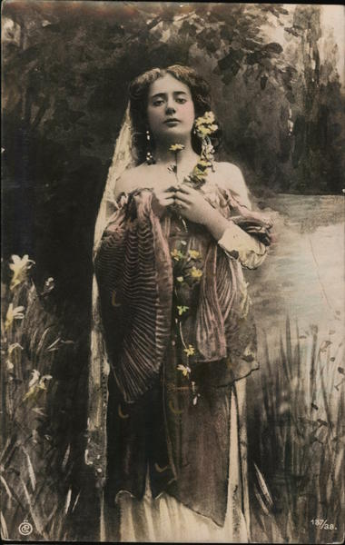 Woman with Bare Shoulders by Pond with Flowers Women