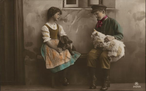 Boy and Girl with Cat and Dog - Hand Colored Children