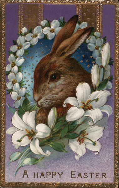 Rabbit in Ring of Flowers - A Happy Easter With Bunnies