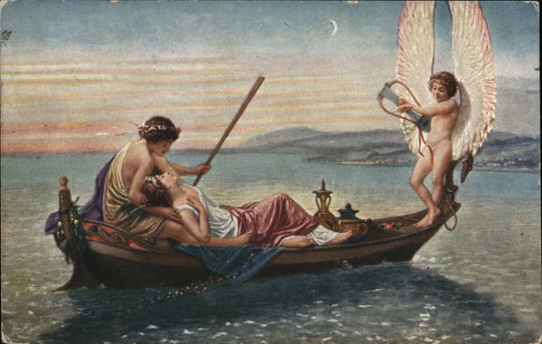 Ancient Man and Woman Romantic in Boat, Angel Playing Harp