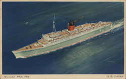 The New 'Caronia', Cunard White Star Line Postcard
