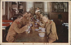 Chinese Soldiers Eating at Counter