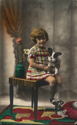 Girl with Stuffed Animal - Hand Colored