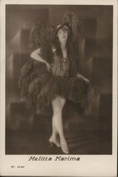 Woman Posing, Wearing Frilly Outfit and Hat