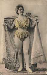 Scantily-Clad Woman Holding Cape Open