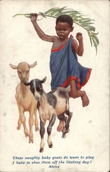 African Boy Shoos Baby Goats With a Palm Frond