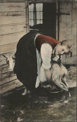 Girl Milking Goat Postcard