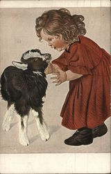 Girl and Goat Postcard