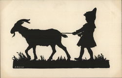 Silhouette of Child Walking Goat Postcard