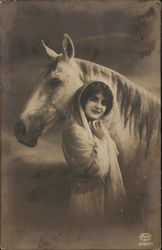 Woman Wearing Head Scarf with Horse