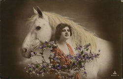 Woman with White Horse and Flowers, Hand Colored