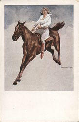 Woman on Leaping Horse - Illustration