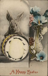 Bunny with Egg and Flowers - a Happy Easter
