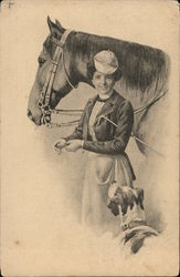 Woman, dog and horse