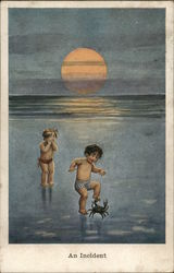 Children Playing on Beach - Crab Attached to Foot - An Incident