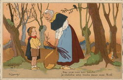Little Boy Talking to Older Woman in Woods