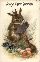Rabbits Reading to Baby Bunny - Loving Easter Greetings