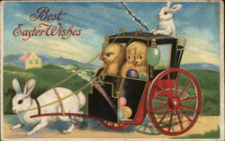 Chicks in Carriage Pulled by Bunny - Best Easter Wishes