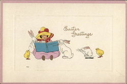 Child Reading to Bunnies and Chicks - Easter Greetings