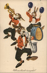 Rabbits in Matching Suits Playing Trumpet, Saxophone, Drums